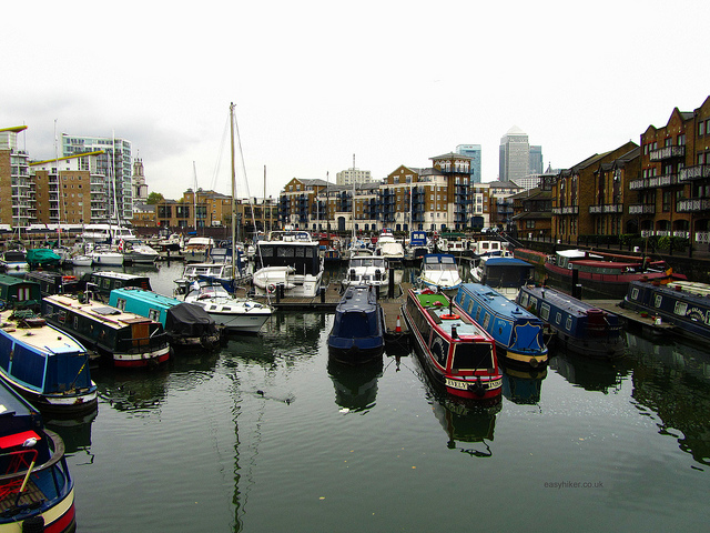 """A view of the Canary Wharf from the Limehouse Basin in London"""