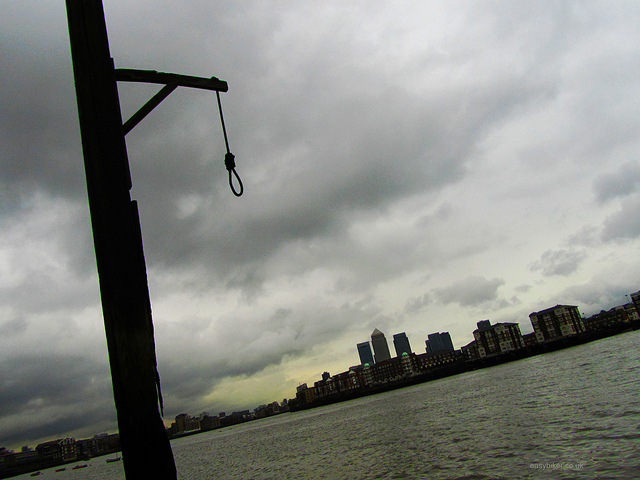 """A pole with a noose in the London Docklands among the ghosts of London past"""