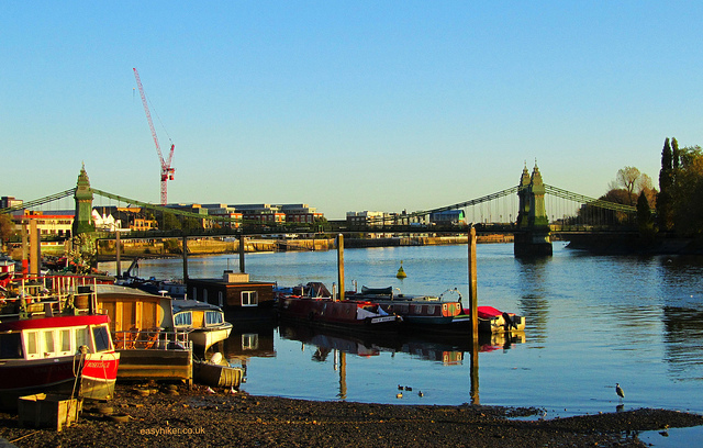 """The Hammersmith Bridge of London seen from afar"""