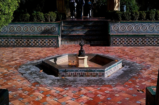 """In the courtyard of the Alcazar in Sevilla"""