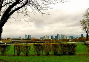 """""""view of La Defense from hiking trail"""""""