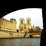 """Notre Dame Cathedral seen from the Seine Paris"""