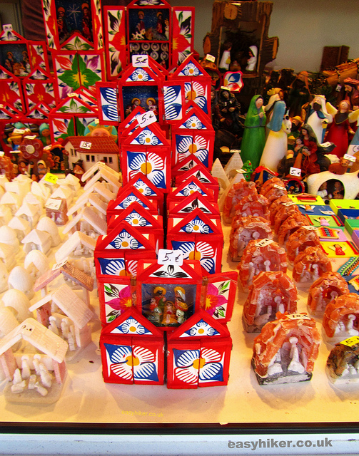 """Mini nativity sets for sale in the Feria del Belen in Seville's Christmas market"""
