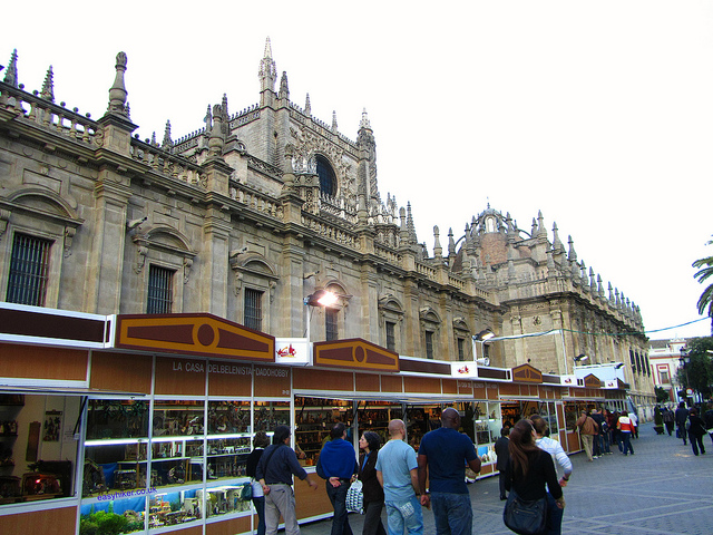"""Feria del Belen in front of the Seville Cathedral in a different christmas market"""