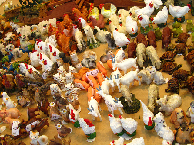 """animal figurines for the nativity scene in Feria del Belen in Seville"""