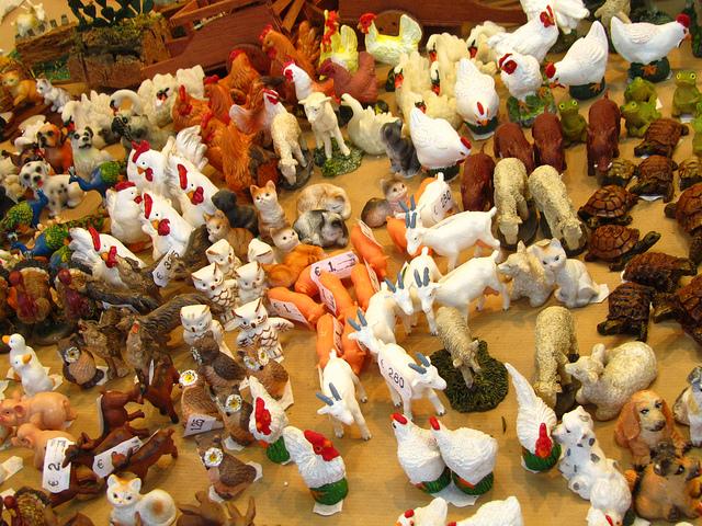 """""""animal figurines for the nativity scene in Feria del Belen in Seville"""""""