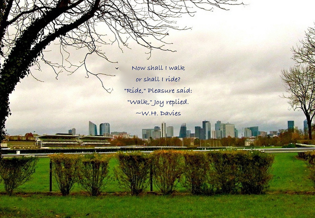 """The joy of walking - La Defense in Paris seen from an easy hiking trail"""