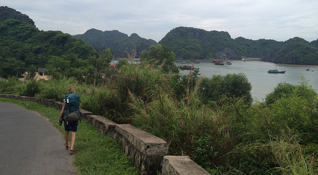 """A hiker on a trail in Vietnam Beo Harbour by Michael Voelker- Vietnam for hikers"""