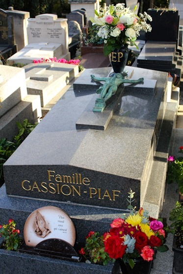 """Grave of Edith Piaf in Pere Lachaise cemetery in Paris"""