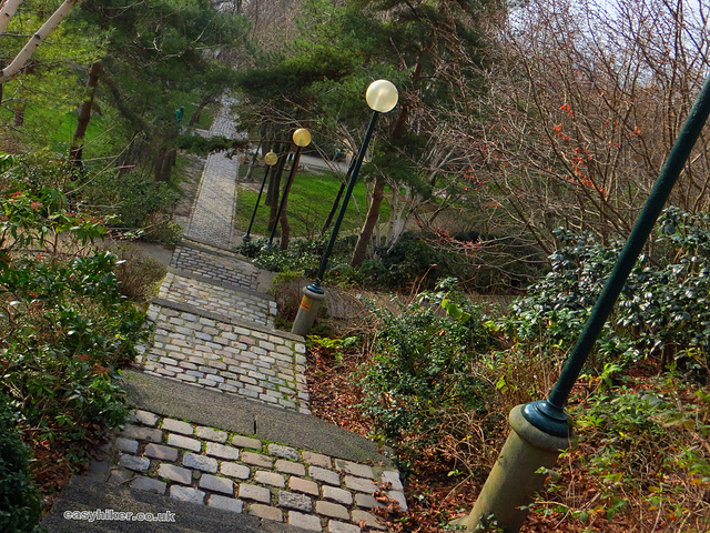 """A stairway leading to the Maison de l'Air on a Paris urban walk in the Belleville of Edith Piaf in Paris"""