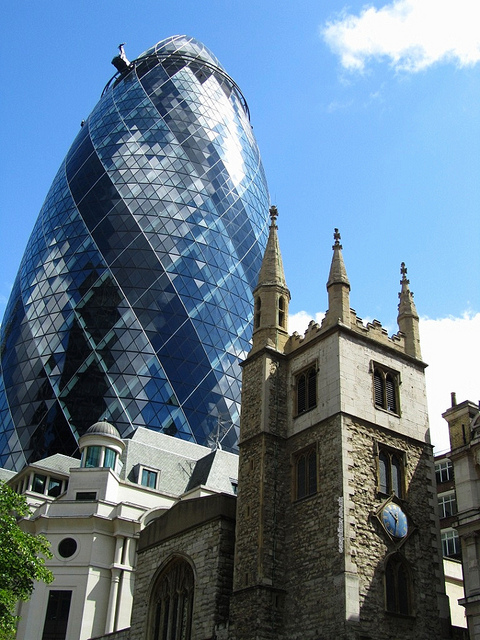 """The Gherkin in London you see when exploring London on foot"""