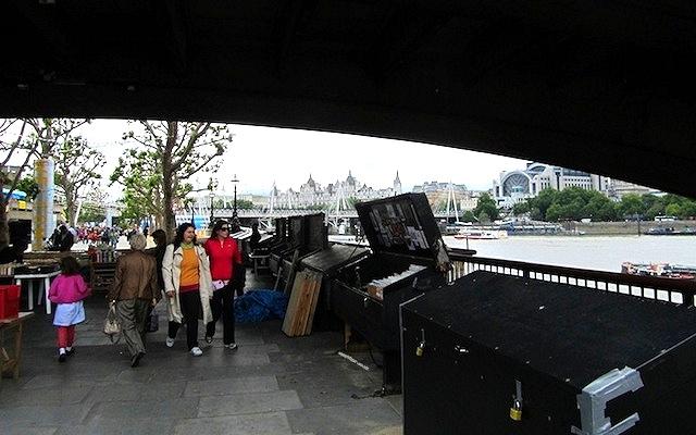 """Book-stalls under the Waterloo Bridge in London"""