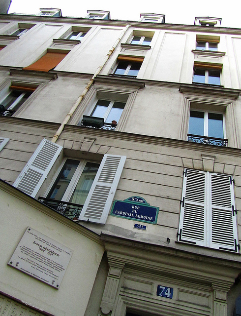 """Hemingway's house in rue Lemoine along the Paris urban walk in the Latin Quarter"""