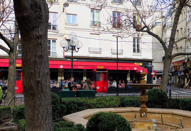"""Cafe Delmas in Rue Contrescarpe in the Paris urban walk in the Latin Quarter"""