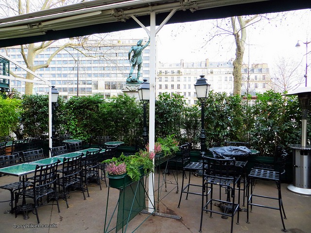 """Garden tables in front of La Closerie des Lilas in Hemingway's Paris"""