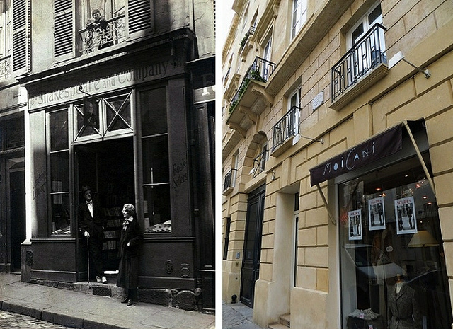 """Old and new, original location of Shakespeare & co in Paris"""