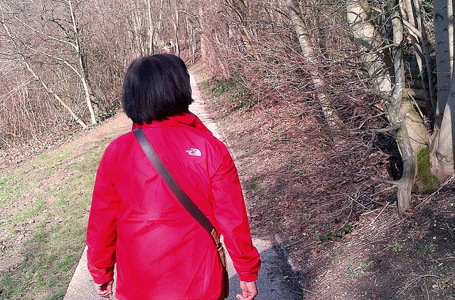 """Mrs Easy Hiker with her new waterproof outdoor jacket on"""
