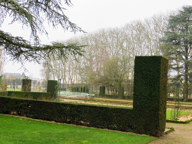 """Cropped square hedges - usual sight in French gardens """
