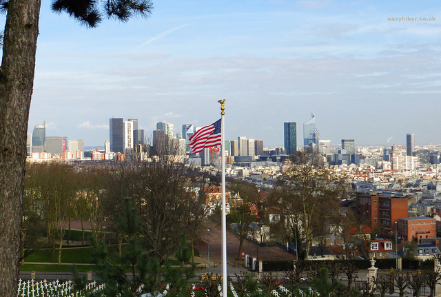 """A view of La Defence from the gardens of an American war cemetery in Mont Valerien near Paris"""