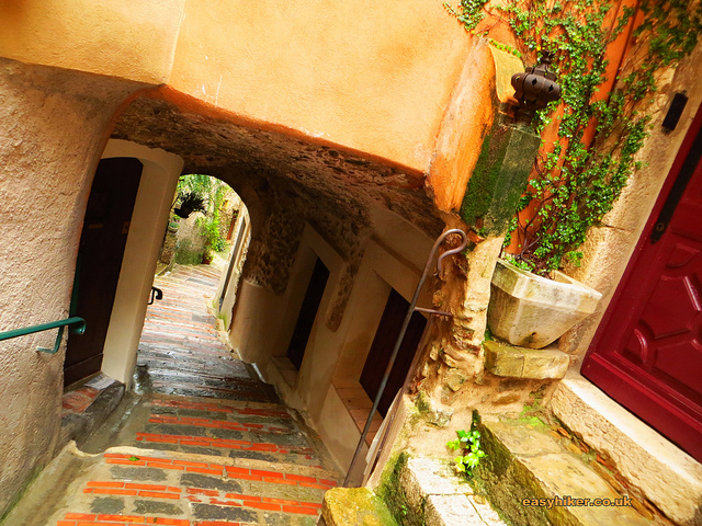"""Exit stairs from the town of Roquebrune in the French Riviera"""