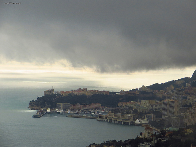 """View of Monaco from hilltop of Roquebrune Cote d'Azur"""