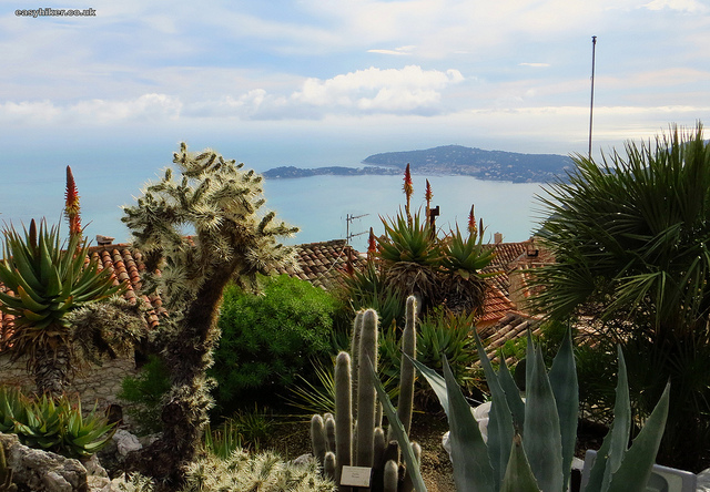 """Eze Hiker view from the Botanical Gardens atop Eze Hill"""