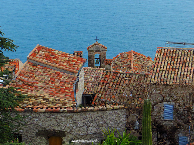 """Rooftops of house in Eze seen from Botanical Gardes in the Cote d'Azur"""