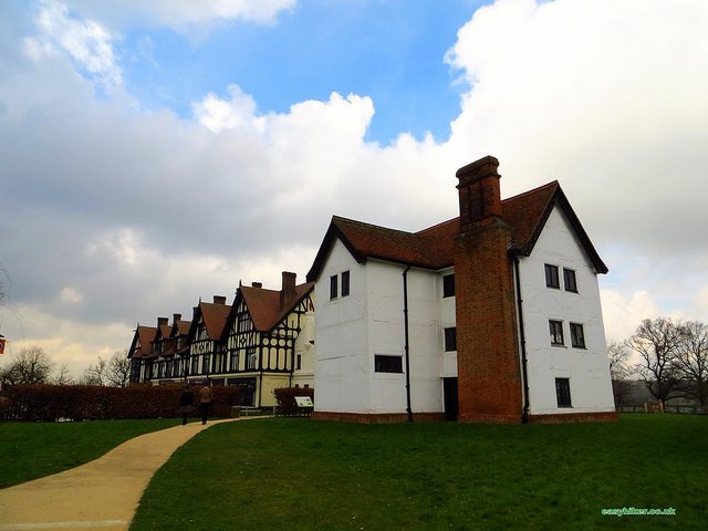"""A Mock Tudor and a real Tudor building in Chingford near London"""