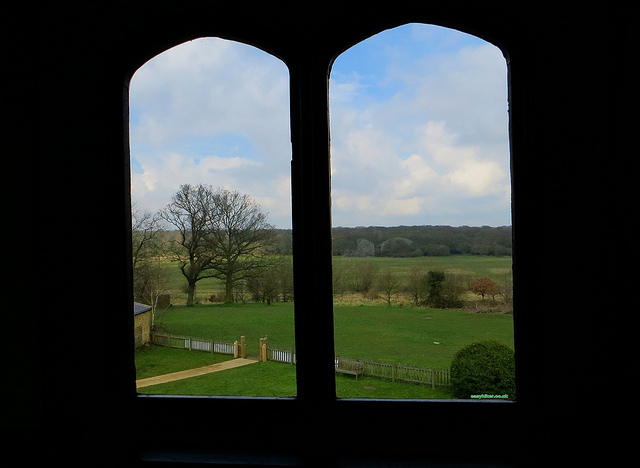 """Inside Queen Elizabeth's hunting lodge, looking out the hunting fields"""