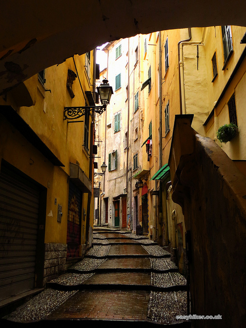"""an alleyway in the old town of San Remo Italy"""