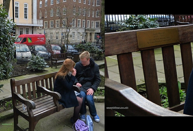 """Themed London walks brings you to the bench in Soho Square in memory of Kirsty McColl in London"""