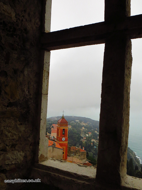 """view from the inside of the Roquebrune Castle in the Cote d'Azur"""