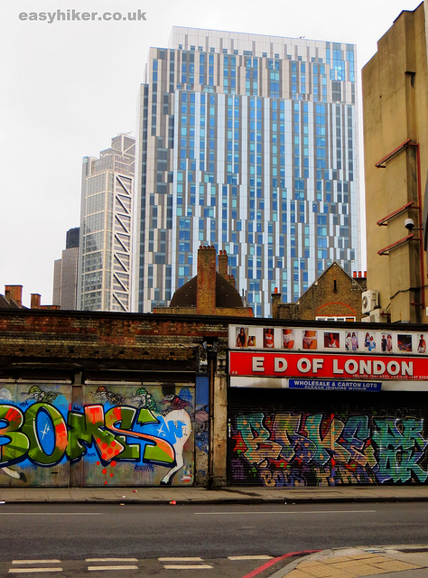 """Modern high rise building seen from a squalid part of the London crime trail part 2"""