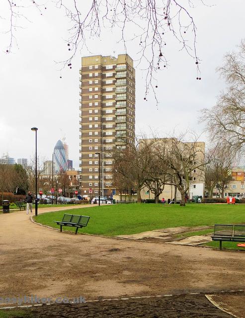 """scruffy garden corner of Valance street along the London crime trail part 2"""