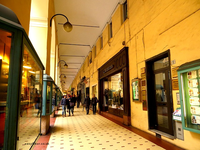 """One of the shopping arcades in Ognelia in Imperia"""