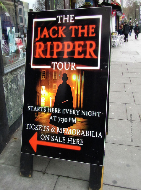 """Poster advertising a London crime trail tour of the Jack the Ripper"""