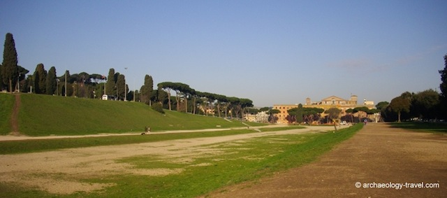 """Part of the Roman track of the Circus Maximus in Rome"""