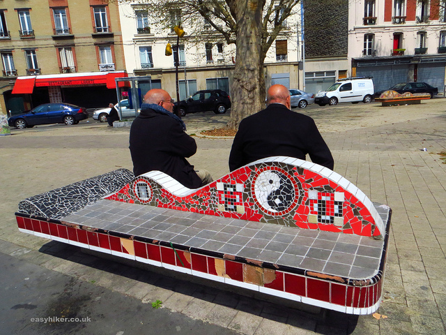 """Walks near Paris - Two old men seated on a tiled bench"""