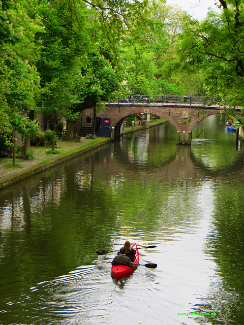 """Canoists on a canal in Utrecht"""