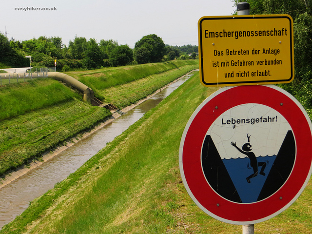 """Danger! Not for swimming canal stretch on the railtrack hiking trail in Germany"""