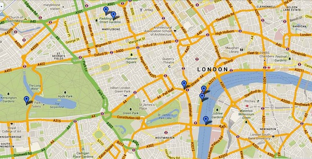 """Map of the themed London walk - poetry in motion"""
