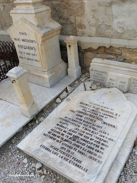 """Tombstones in the hilltop cemetery of sunny Menton"""