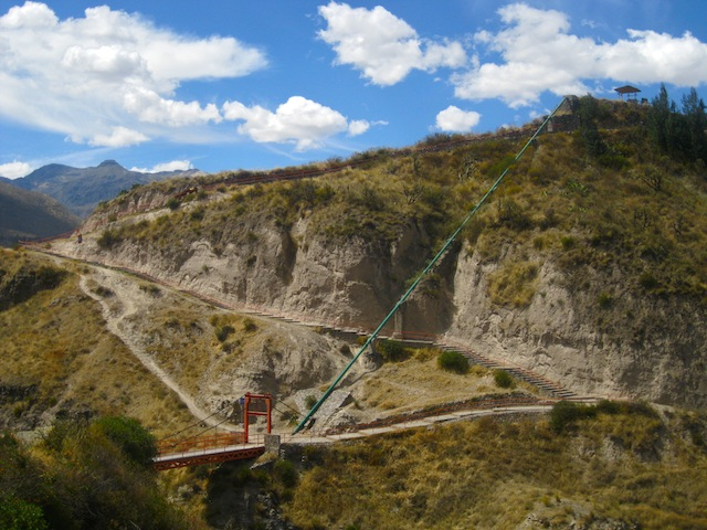 """Hiking in Peru - A suspension bridge crossing a river along the Colca Canyon trail"""