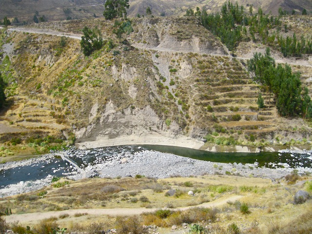"""Hiking in Peru - Another bridge crossing the Colca Canyon"""
