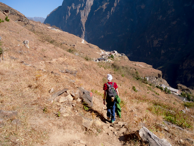 """Arrival at Tinas Upper Trail Hike Yunnan China"""