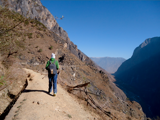 """Upper Trail Hike Yunnan China when hiking Tiger Leaping Gorge"""