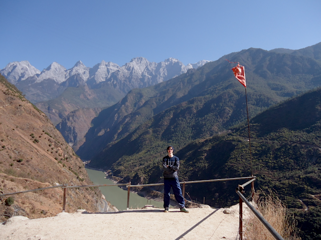 """Jonny Blair hiking Tiger Leaping Gorge on the Upper Trail Hike Yunnan China"""