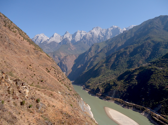 """Views on the Upper Trail Hike Yunnan China when hikingTiger Leaping Gorge"""