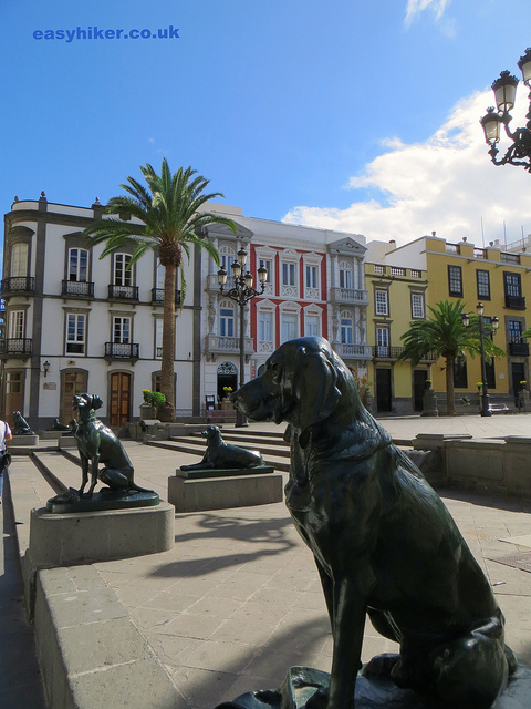 """statues of dogs in front of cathedral of Las Palmas in Gran Canaria"""