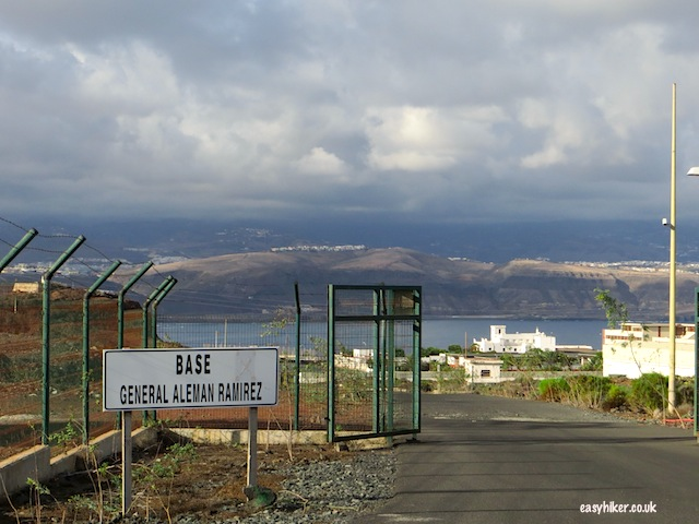 """Entering the military camp to get to the three volcanoes of La Isleta"""